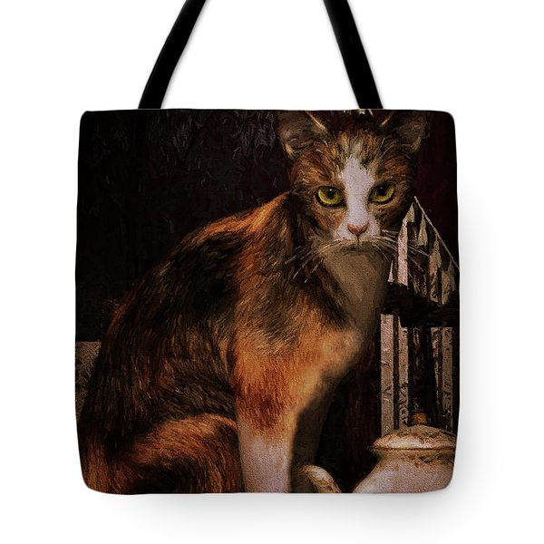 Tote Bag featuring the digital art Milk No Sugar Calico Cat by Shanina Conway