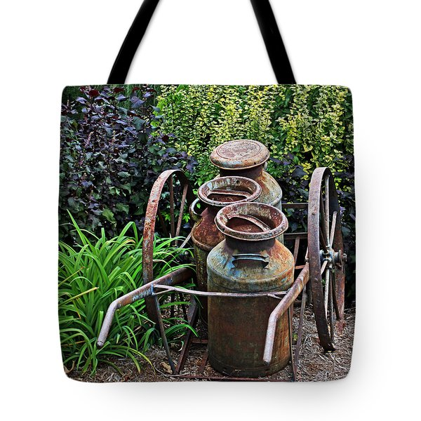 Tote Bag featuring the photograph Milk Pails by Judy Vincent