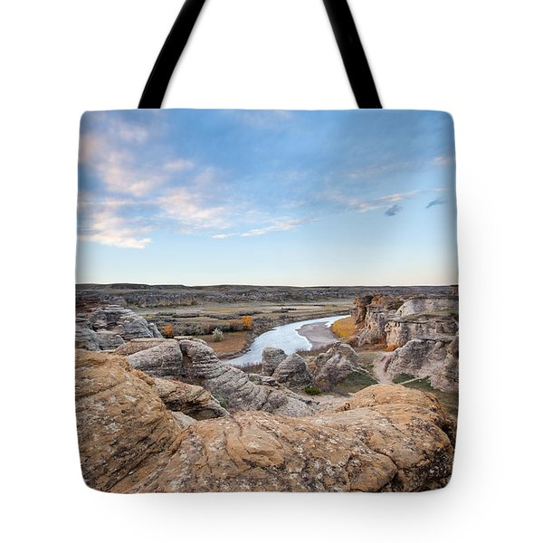 Tote Bag featuring the photograph Milk River Sun Up by Fran Riley