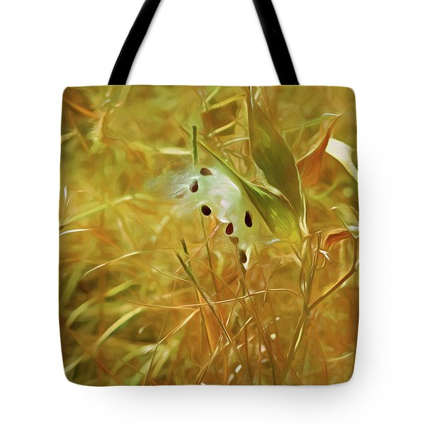 Tote Bag featuring the mixed media Milkweed In Sunlight 2 by Lynda Lehmann