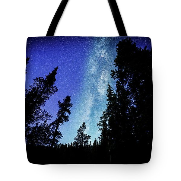 Milky Way Among The Trees Tote Bag