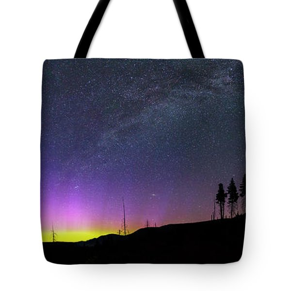 Tote Bag featuring the photograph Milky Way And Aurora Borealis by Cat Connor