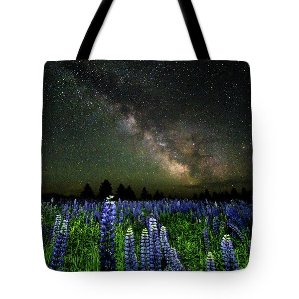Milky Way And Lupine Tote Bag by Cody Gould
