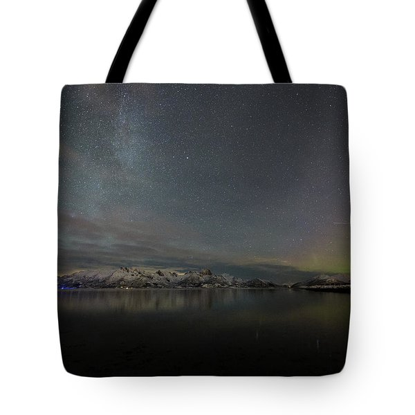 Milky Way And Northern Lights Tote Bag