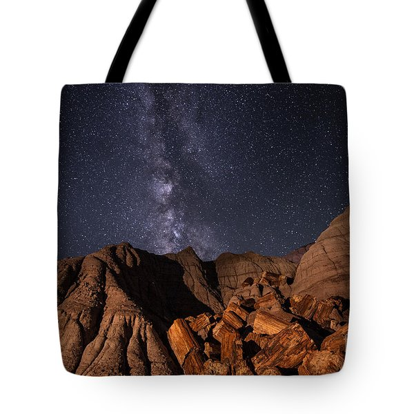 Milky Way And Petrified Logs Tote Bag