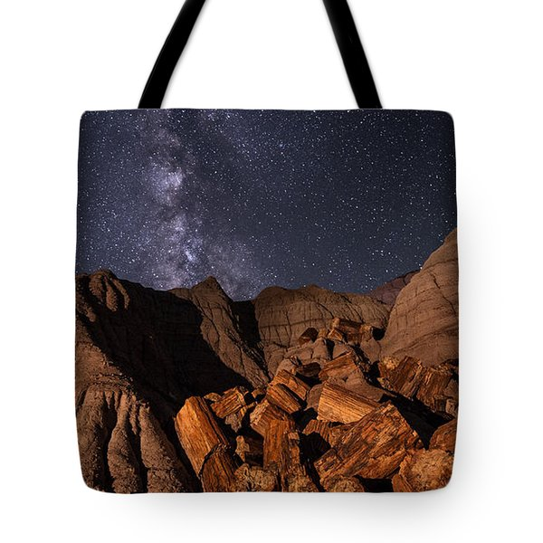 Tote Bag featuring the photograph Milky Way And Petrified Logs by Melany Sarafis