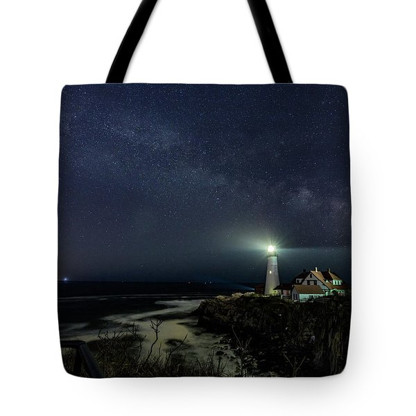 Tote Bag featuring the photograph Milky Way At Portland Head Light by Darryl Hendricks