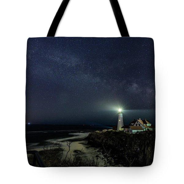 Milky Way At Portland Head Light Tote Bag