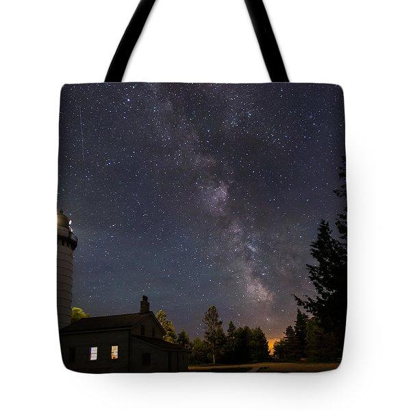 Milky Way Over Cana Island Lighthouse Tote Bag