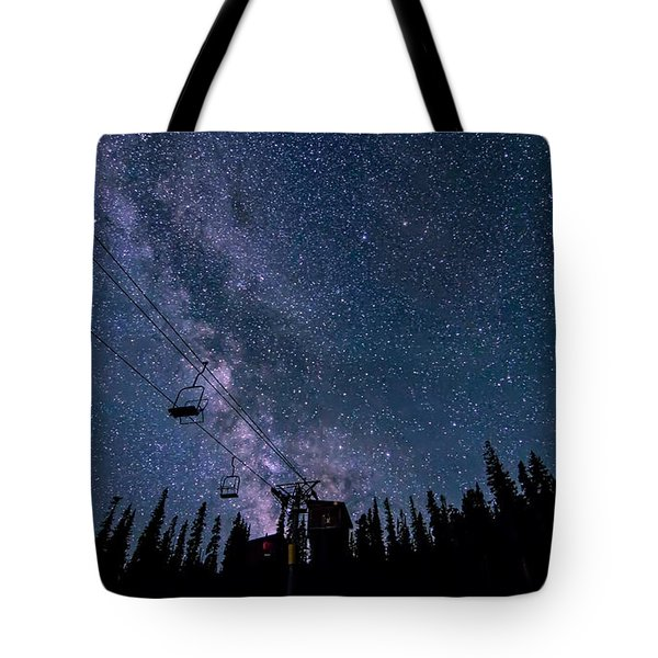Milky Way Over Chairlift Tote Bag