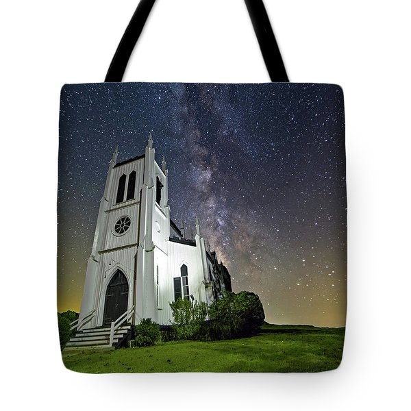 Tote Bag featuring the photograph Milky Way Over Church by Lori Coleman