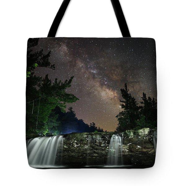 Milky Way Over Falling Waters Tote Bag