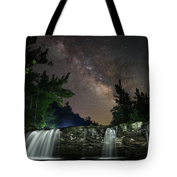 Milky Way Over Falling Waters Tote Bag
