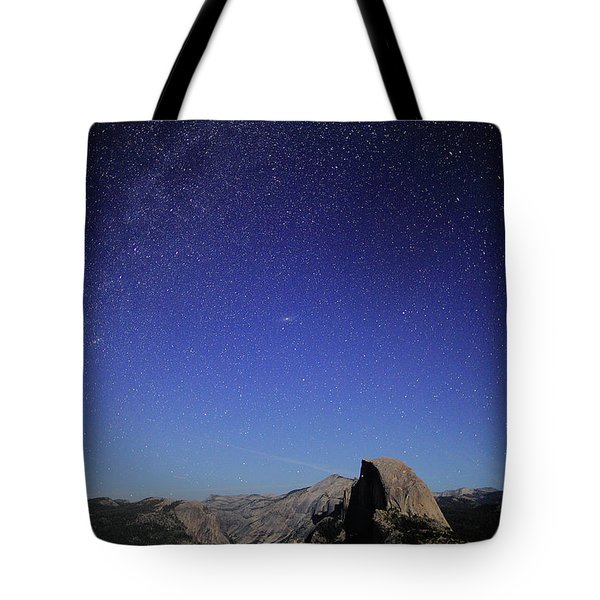 Milky Way Over Half Dome Tote Bag