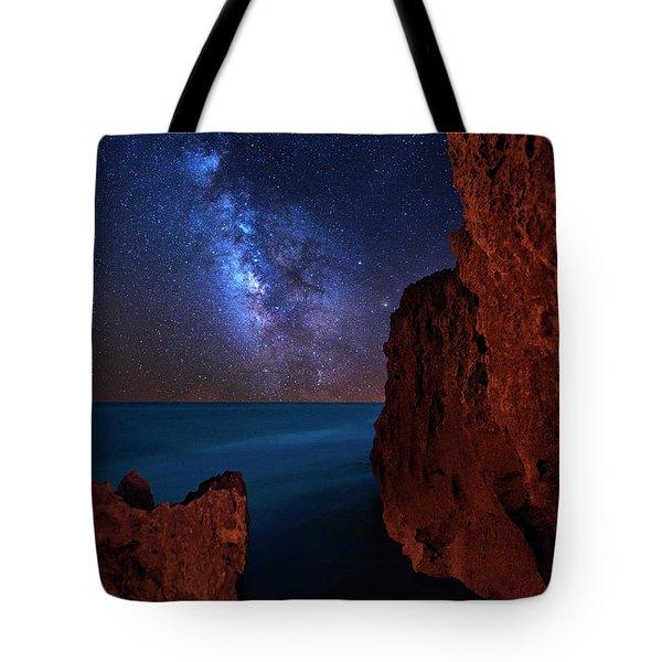 Milky Way Over Huchinson Island Beach Florida Tote Bag
