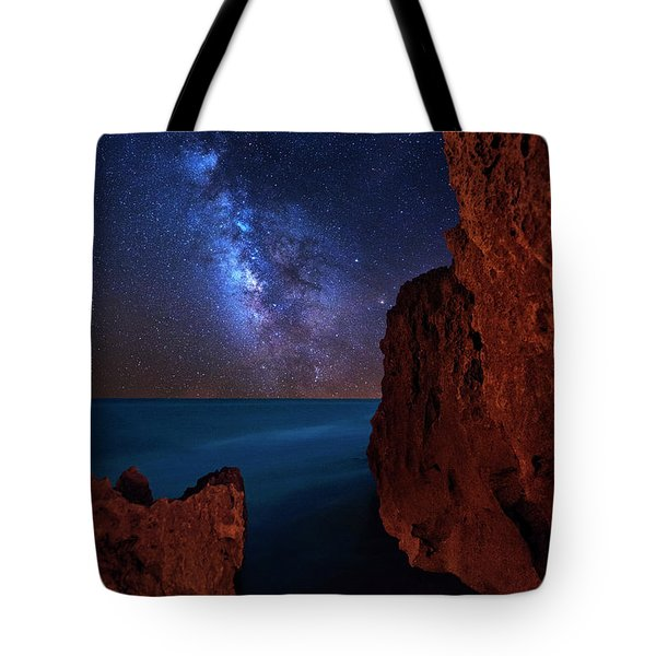 Tote Bag featuring the photograph Milky Way Over Huchinson Island Beach Florida by Justin Kelefas