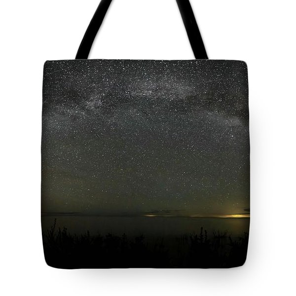 Milky Way Over Lake Michigan At Cana Island Lighthouse Tote Bag