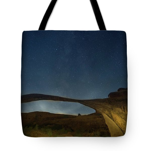 Milky Way Over Landscape Arch Tote Bag