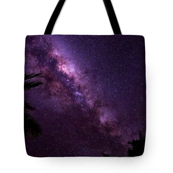 Tote Bag featuring the photograph Milky Way Over Mission Beach Vertical by Avian Resources