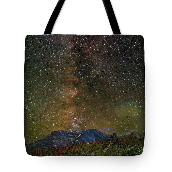 Milky Way Over Mount St Helens Tote Bag