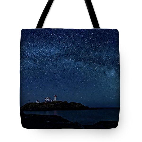 Milky Way Over Nubble Tote Bag