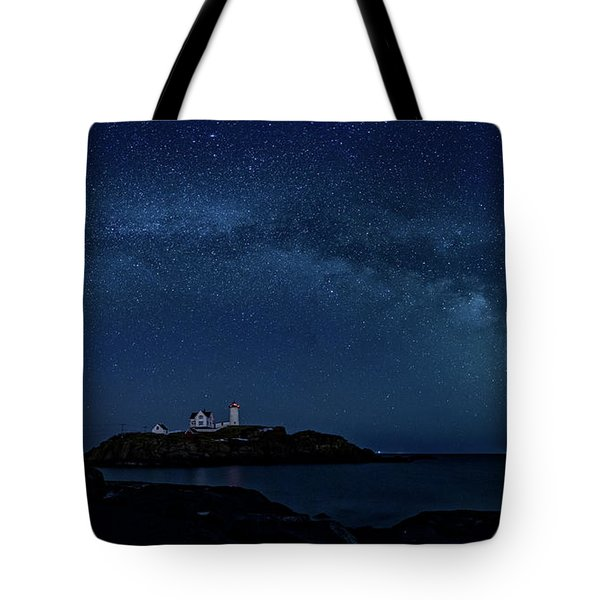 Tote Bag featuring the photograph Milky Way Over Nubble by Darryl Hendricks