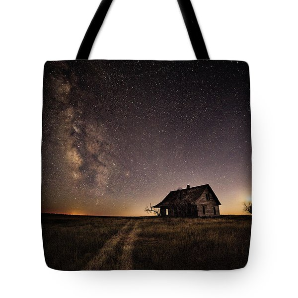 Milky Way Over Prairie House Tote Bag