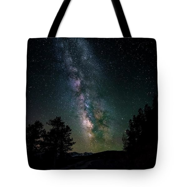 Tote Bag featuring the photograph Milky Way Over Rocky Mountains by Gary Lengyel