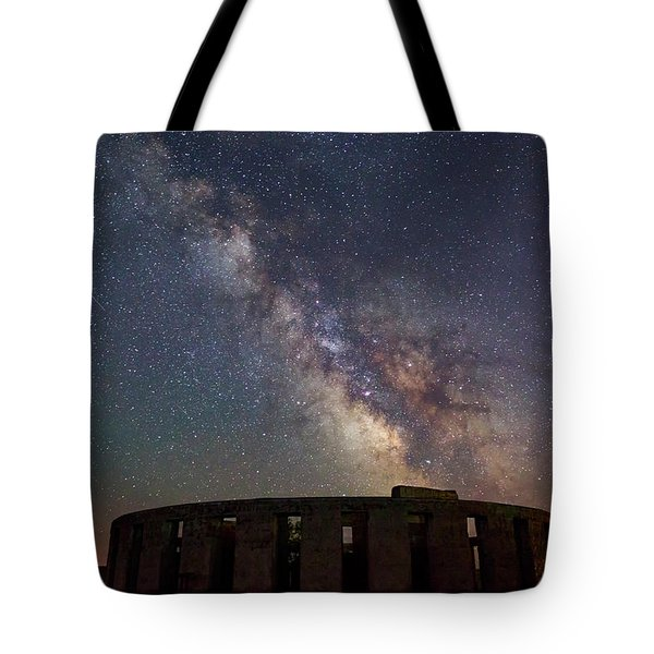 Tote Bag featuring the photograph Milky Way Over Stonehendge by Cat Connor
