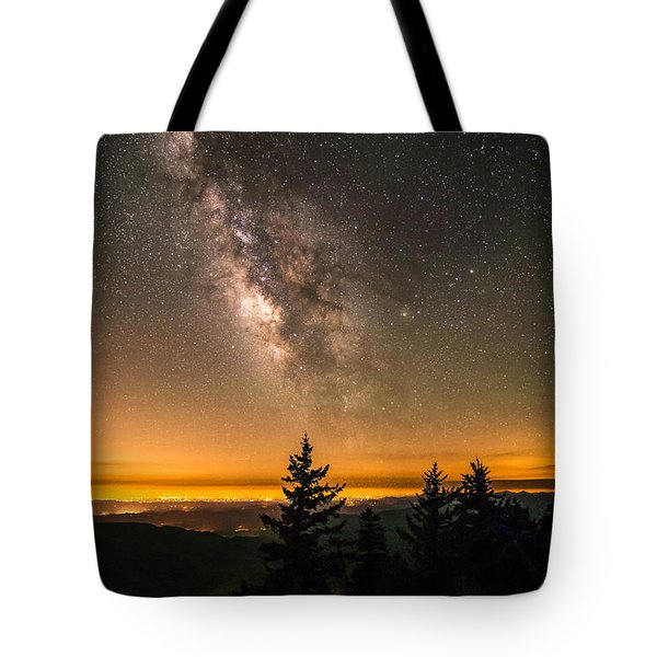 Tote Bag featuring the photograph Milky Way Over The Blue Ridge Mountains by Serge Skiba