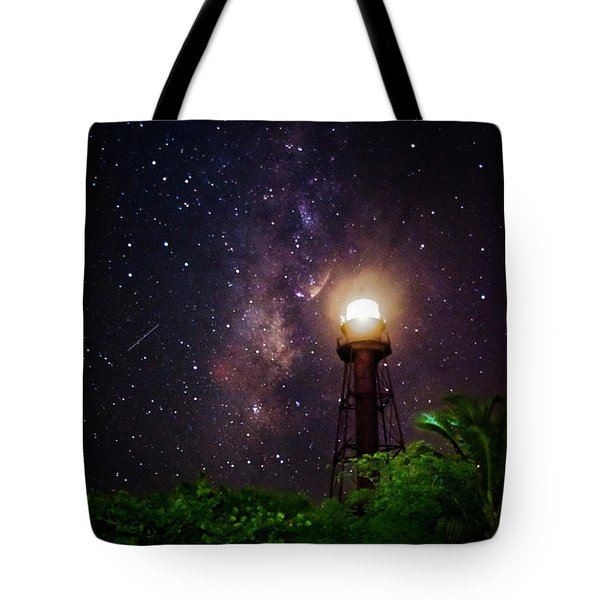Milky Way Over The Sanibel Lighthouse Tote Bag