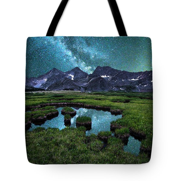 Milky Way Reflection Over The Three Apostles Tote Bag by Aaron Spong