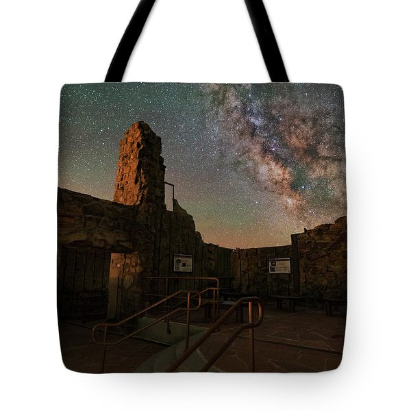 Milky Way Steps At The Crest House Ruins Tote Bag