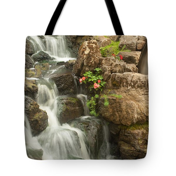 Tote Bag featuring the photograph Mill Wheel With Waterfall by David Coblitz
