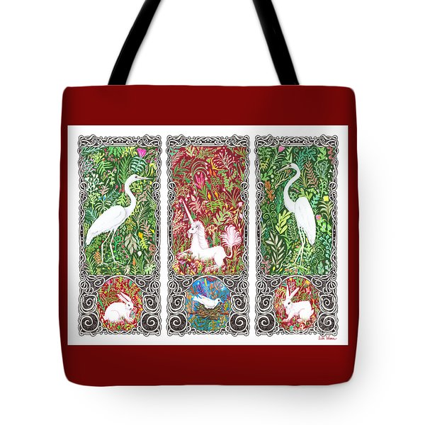 Millefleurs Triptych With Unicorn, Cranes, Rabbits And Dove Tote Bag