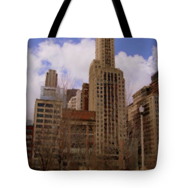Millenium Park And Bench 1 Tote Bag by Anita Burgermeister