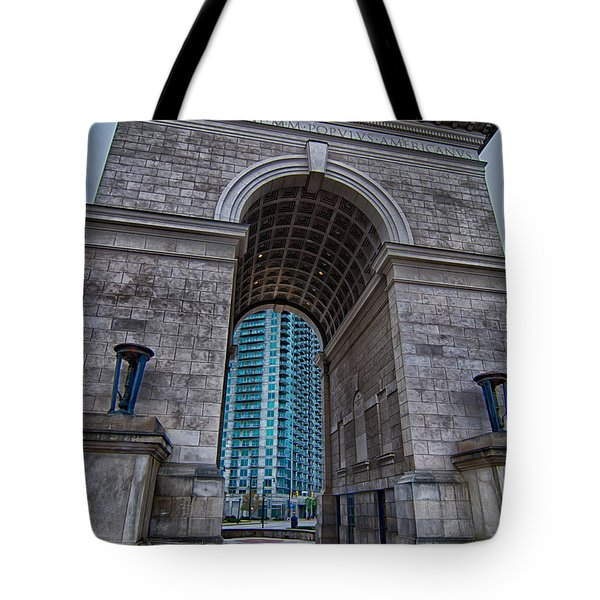 Millennium Gate Triumphal Arch At Atlantic Station In Midtown At Tote Bag by Alex Grichenko