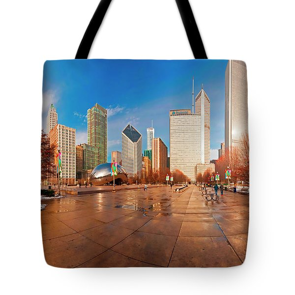 Millennium Park Skyline And The Bean  Tote Bag