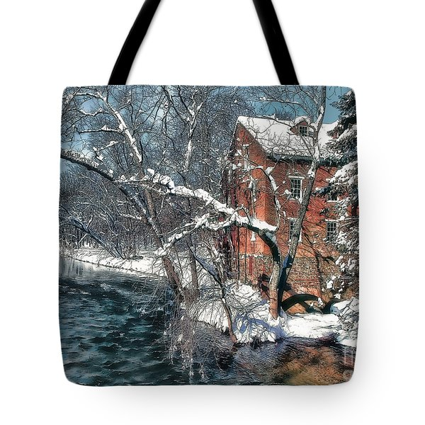 Mill House In Winter Tote Bag