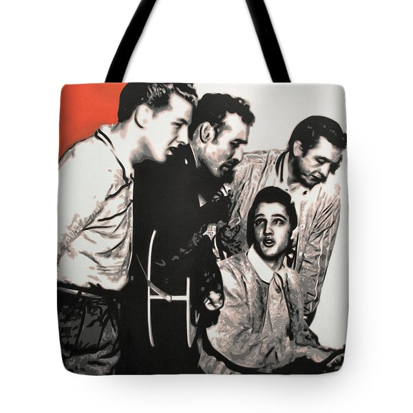 Million Dollar Quartet Tote Bag by Luis Ludzska