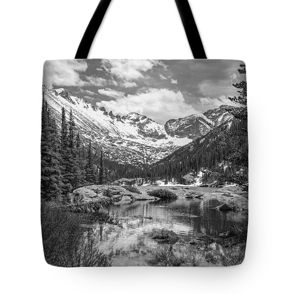 Tote Bag featuring the photograph Mills Lake Black And White by Aaron Spong