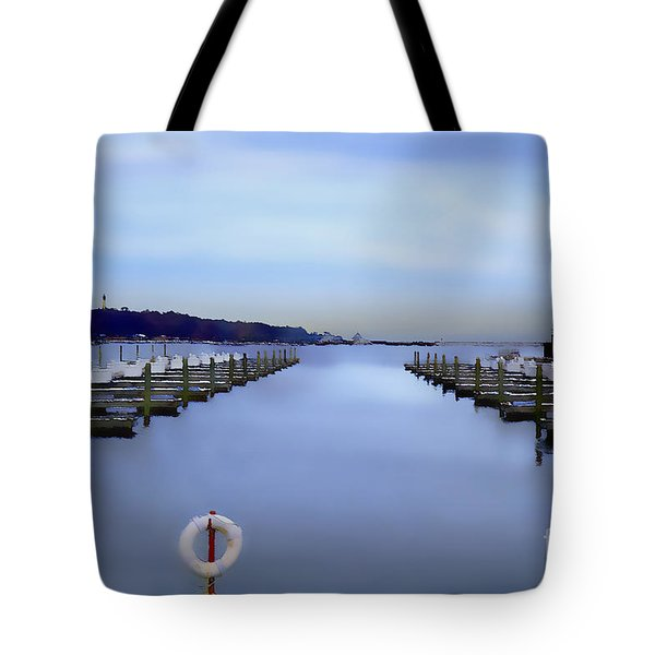 Tote Bag featuring the digital art Milwaukee Marina November 2015 by David Blank