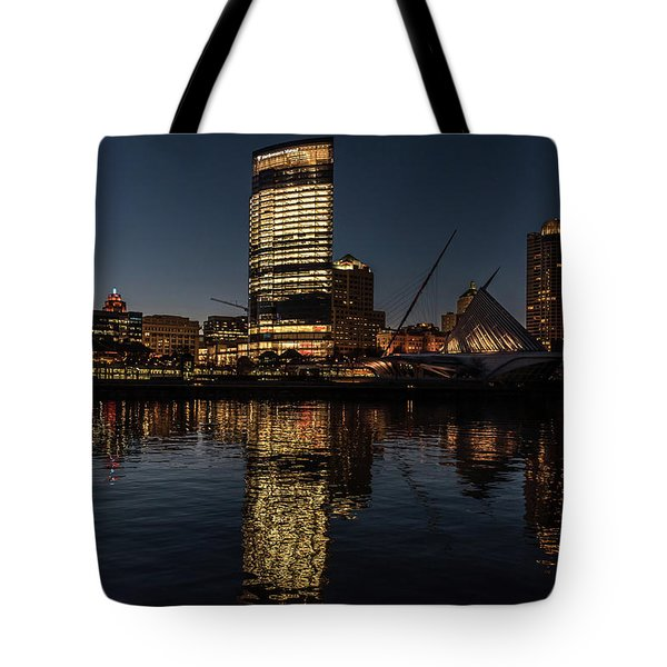 Tote Bag featuring the photograph Milwaukee Reflections by Randy Scherkenbach