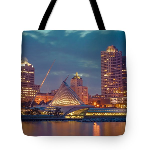 Milwaukee Skyline At Dark Tote Bag