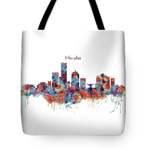 Tote Bag featuring the mixed media Milwaukee Watercolor Skyline by Marian Voicu