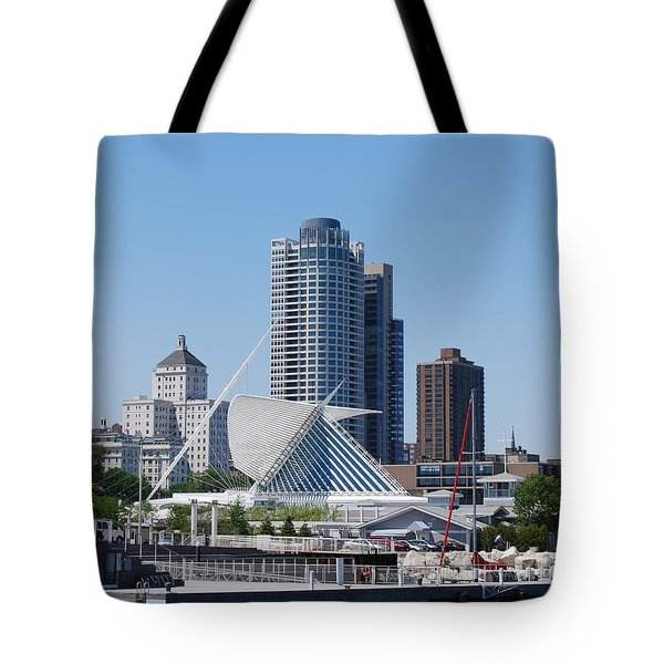 Tote Bag featuring the photograph Milwaukee, Wi Shoreline by Ramona Whiteaker