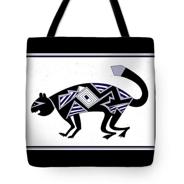 Tote Bag featuring the digital art Mimbres Mountain Lion by Vagabond Folk Art - Virginia Vivier