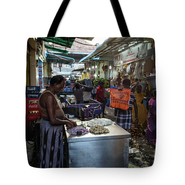 Tote Bag featuring the photograph Mincing Garlic by Mike Reid