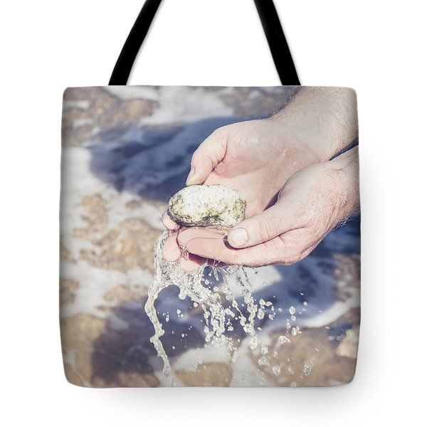 Mineralogy Collector Washing A Pumice Stone Sample Tote Bag