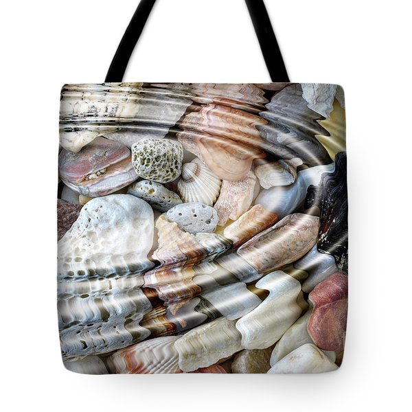 Tote Bag featuring the digital art Minerals And Shells by Michal Boubin